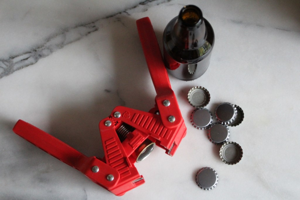 Bottling Homebrew Beer with a Bottle Capper and Caps