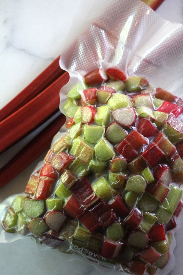Flash frozen rhubarb packed into a vacuum sealed bag.