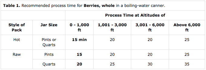 Water Bath Canning Blueberries Timetable