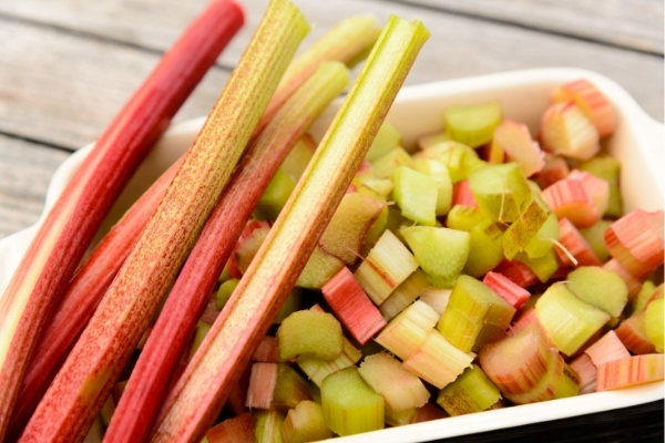 Rhubarb Sliced for Freezing