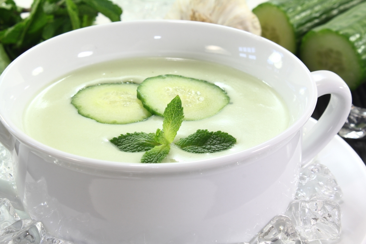 Cold cucumber soup can be made quickly with cucumber that's been peeled and sliced before freezing.