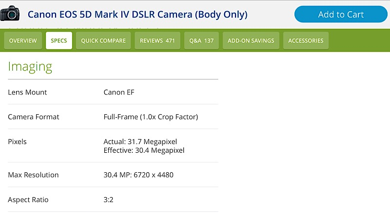 BH Photo Video Specs
