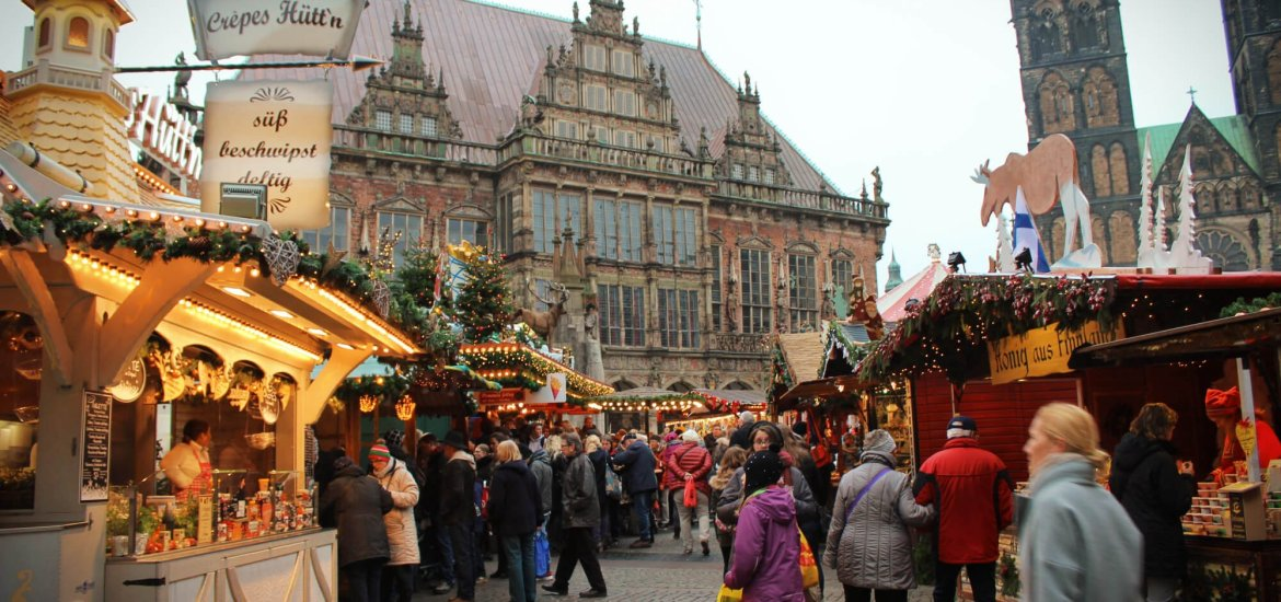 Bremen in the winter features a fairytale perfect example of a German Christmas Market, surrounded by history and stunning architecture.
