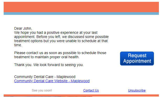 Unscheduled Treatment Reminder Dentists