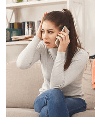 desperate woman on the phone