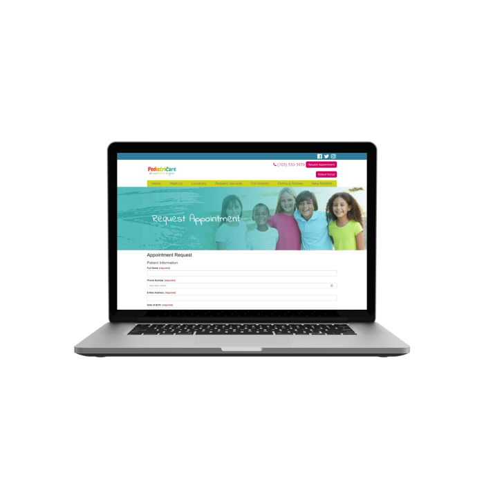 pediatrician website laptop