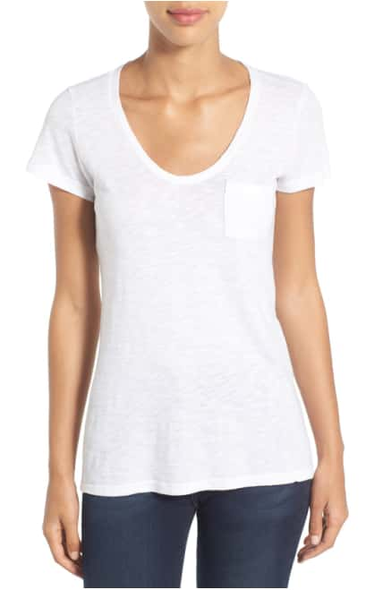 Caslon® Rounded V-Neck Tee