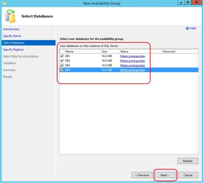 Step 8 (Select Databases for Availability Group)
