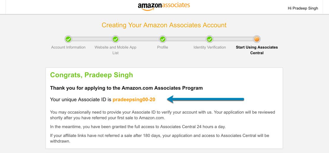 Amazon Associates Account Referral code