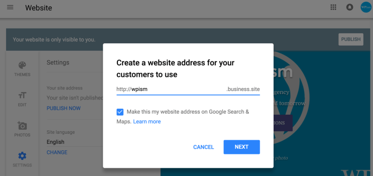 Choose Business Site Website Address to publish your Google My Business website