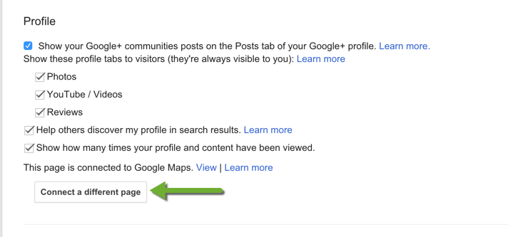 Connect to Different Google Plus Page