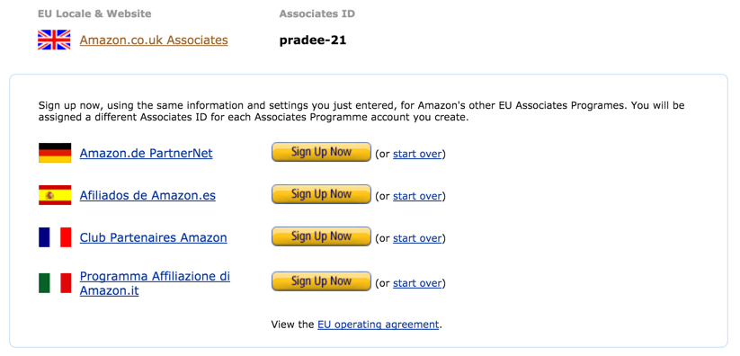 EU Amazon Affiliate UK Programs