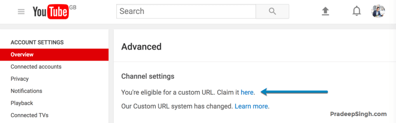 Eligible for Custom URL Claim Link