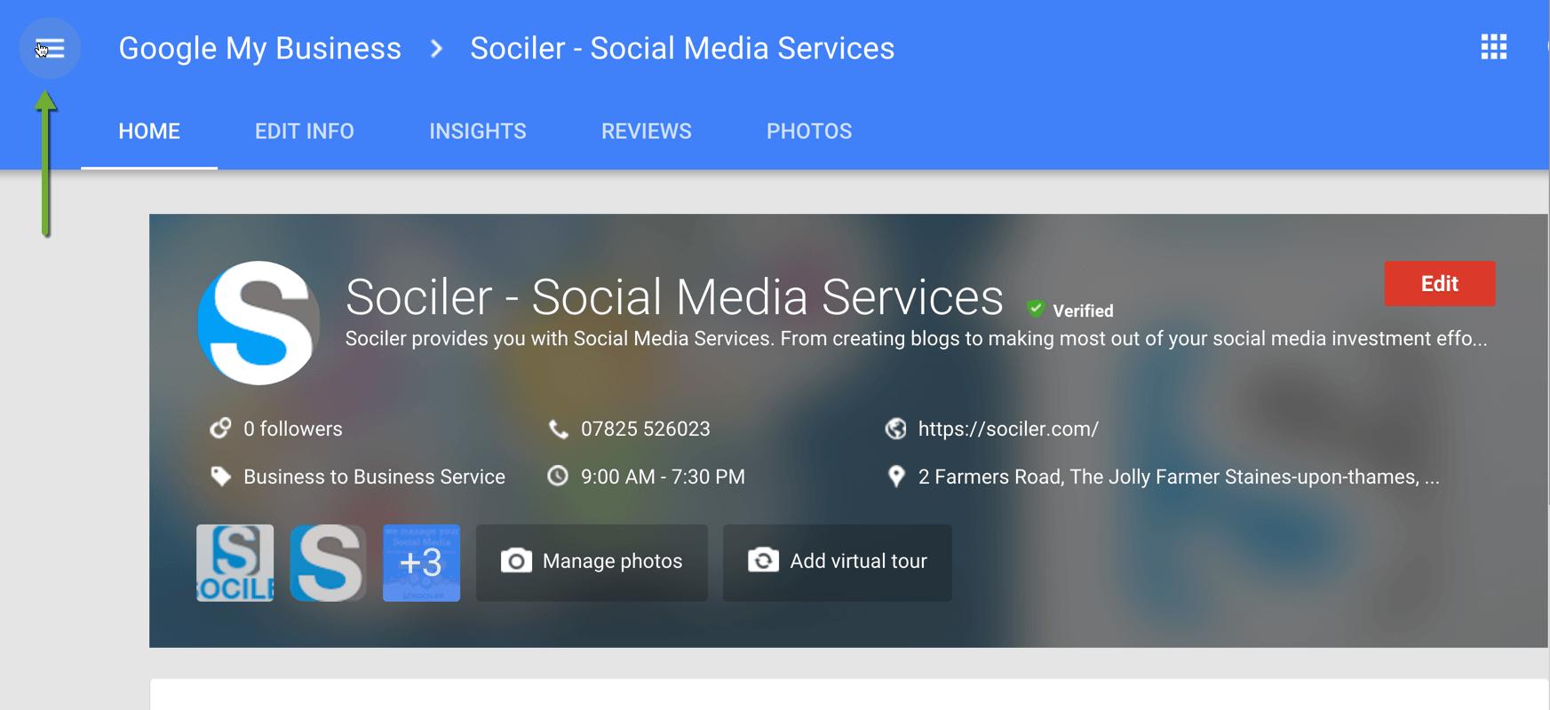 Google Plus Page Menu Icon Managing Business
