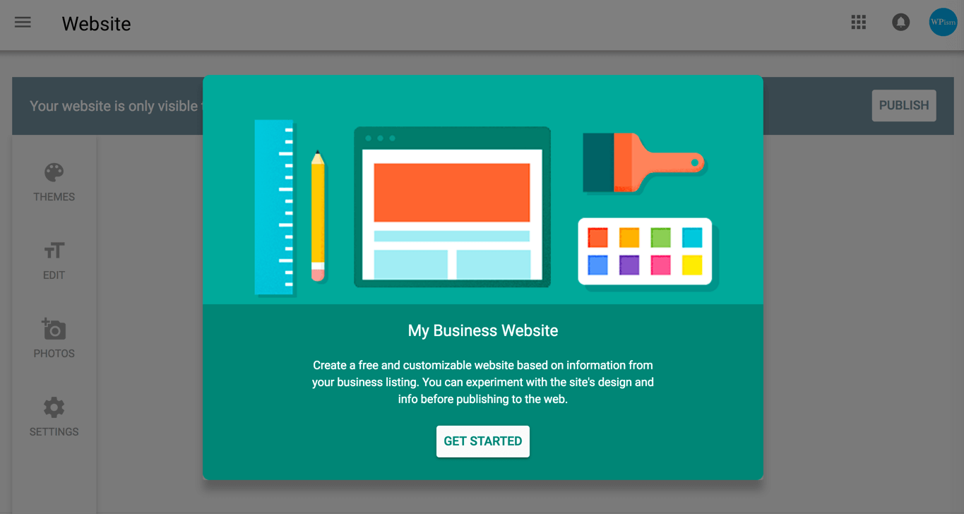 Introduction screen Google My Business Website