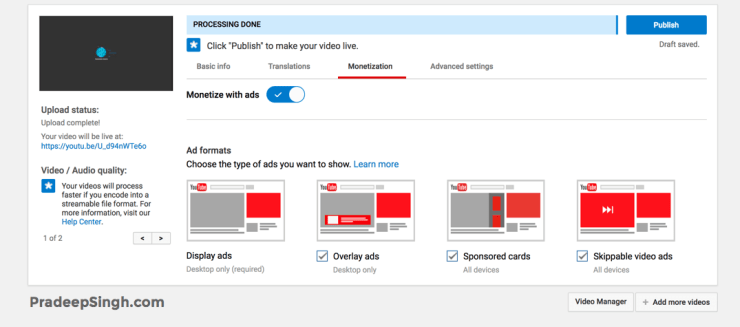 Monetization Options YouTube Videos Adsense