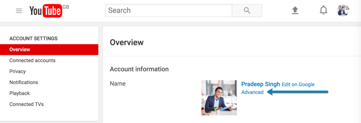 Overview and Advanced Section of YouTube Profile