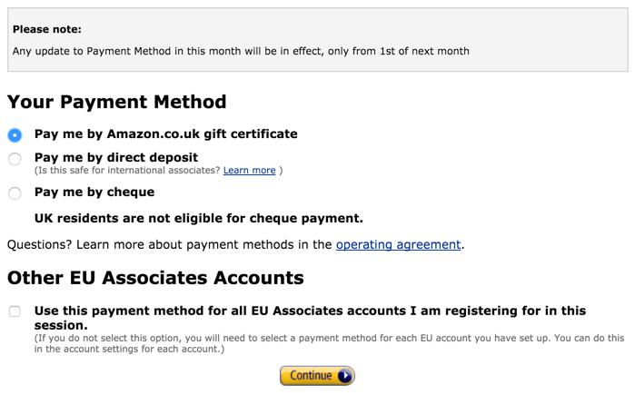 Payment methods Amazon Associates Program