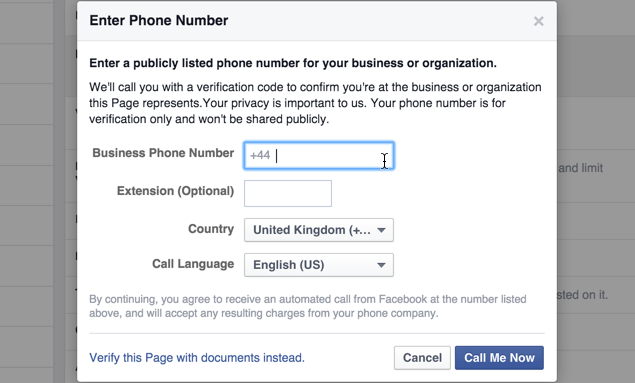 Phone number for Facebook Page Verification