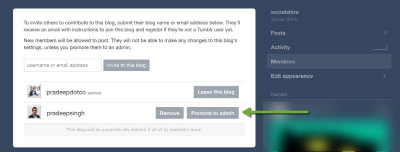 Promote New tumblr account to Admin