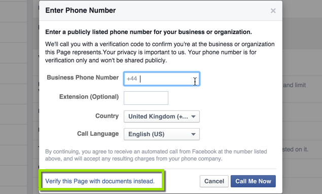 Verify Facebook Page with Business Documents
