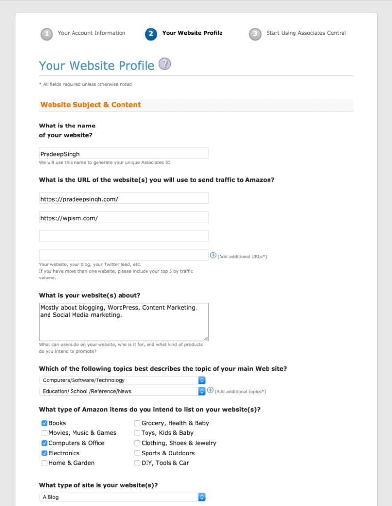 Website Details for Amazon Affiliate Program