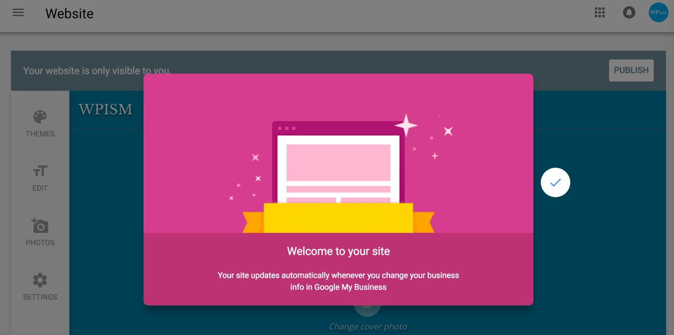 Welcome Screen Google My Business website