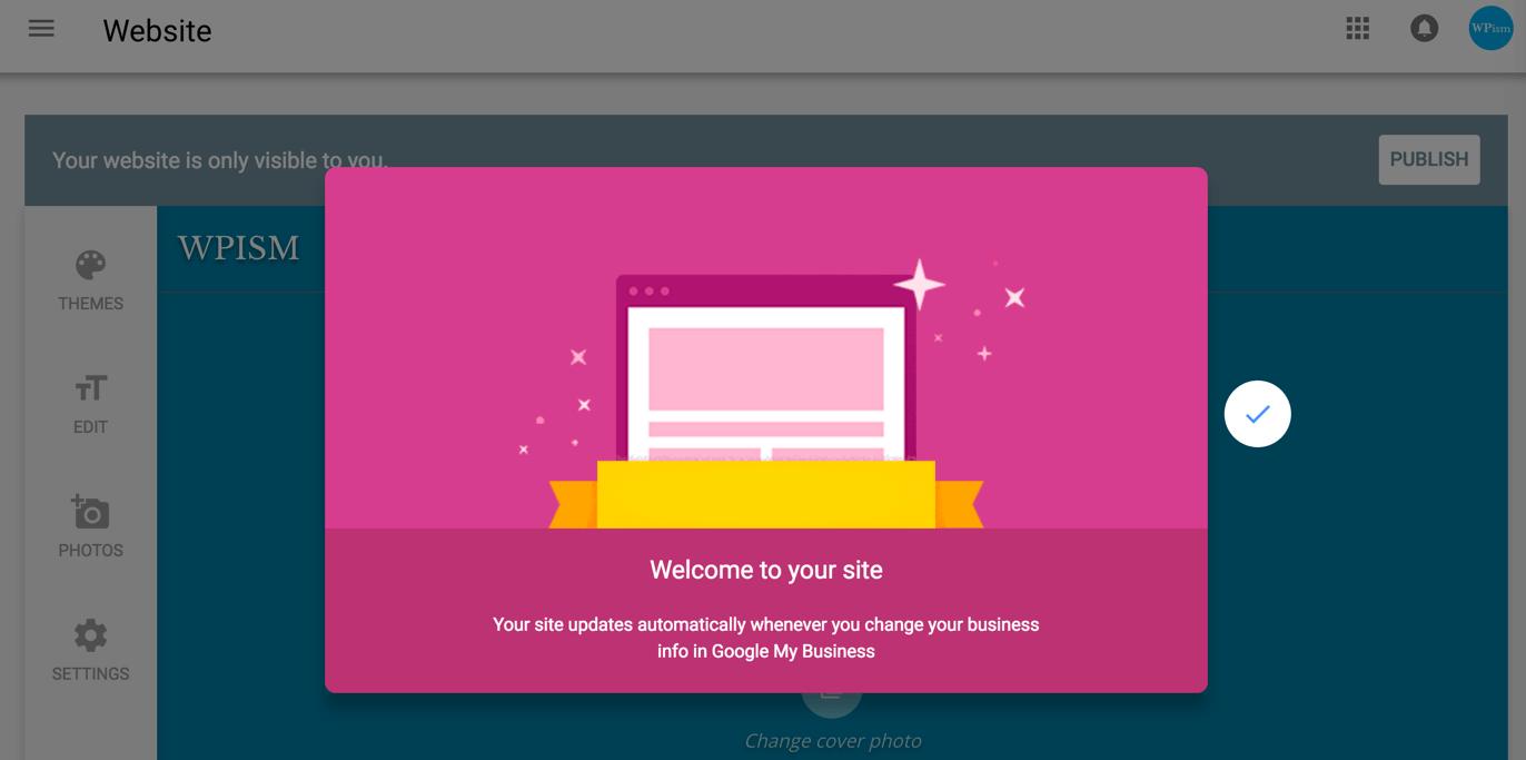 Welcome Screen Google My Business website
