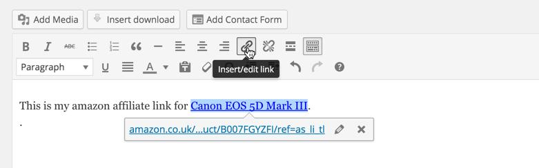 WordPress Amazon Affiliate Link
