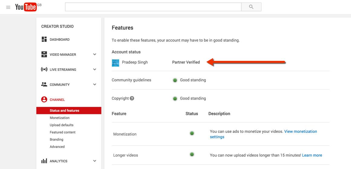 YouTube Partner Verified Status YouTube