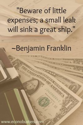 debt free Ben Franklin expenses quote