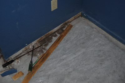 game room baseboard removal