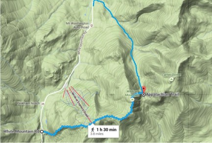 Topographical Map of the route. Google Maps underestimates the time and distance