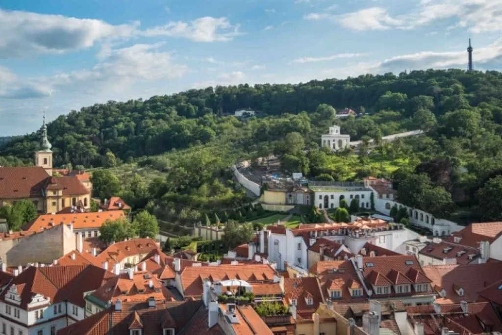 Beautiful Petřín Hill and typical red roofs of old buildings in Prague