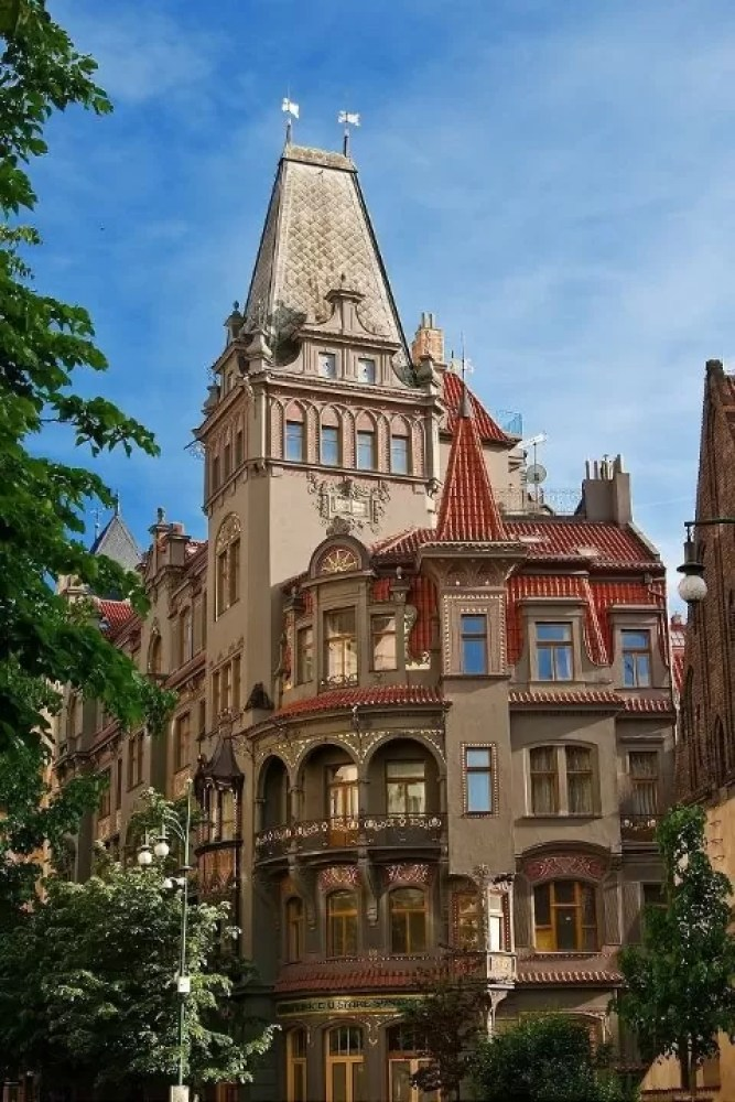 Very beautiful building diner at the old synagogue in the center of Prague. Czech Republic.