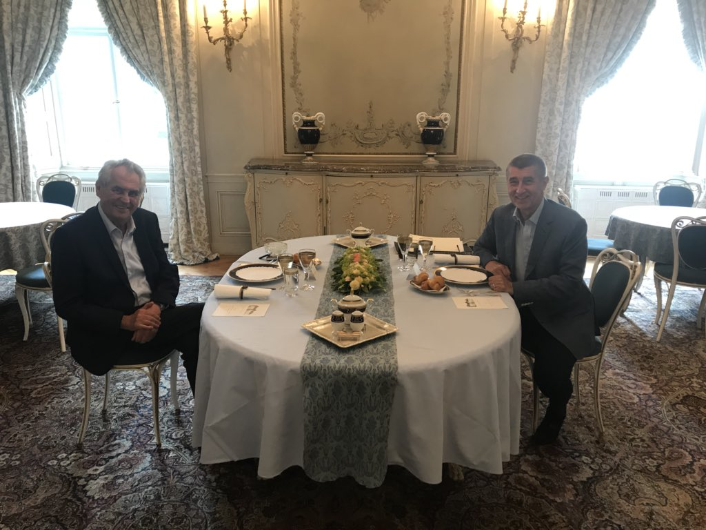 MILOS ZEMAN ANDREJ BABIS MEET TO DISCUSS MINISTER CANDIDATES DURNING WORKING BREAKFAST