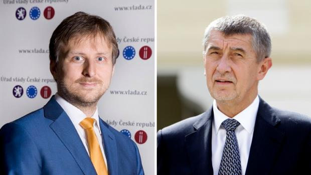 Newly appointed Czech Justice Minister Jan Knezinek and Prime Minister Andrej Babis