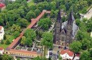 aerial view of Vyšehrad with the Church od SS. Peter and Paul, prague steps, prague tours, personal prague guide,