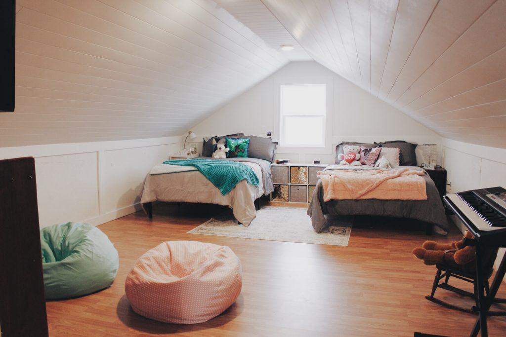 girls attic bedroom prairie and lake