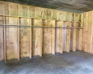 This is a photo of the inside of the Prairie Bells Barn Bridal Suite. This photo shows the built in storage are for the bride & bridesmaid to keep their items safe.