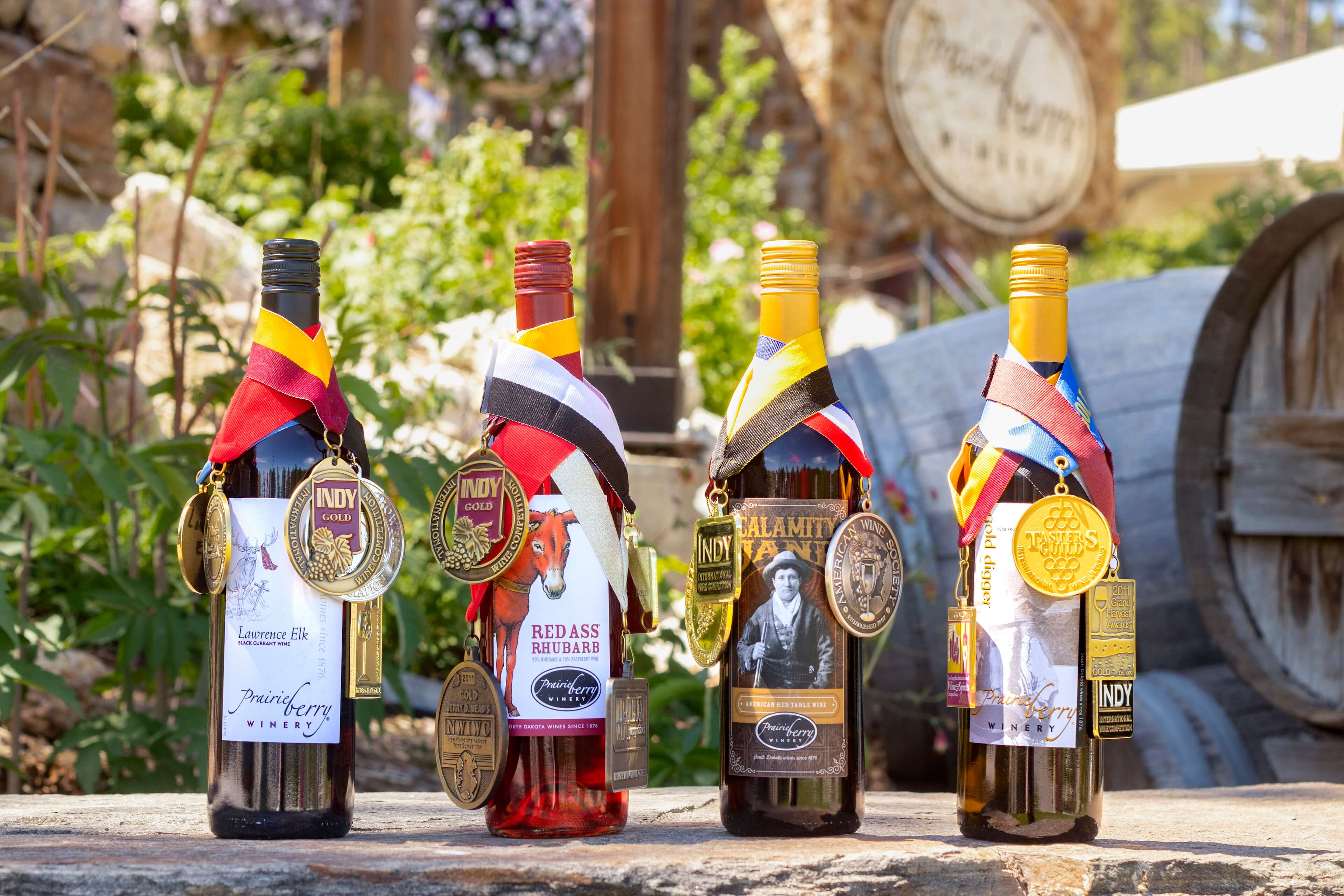 Prairie Berry Winery's most award-winning wines include Lawrence Elk, Red Ass Rhubarb, Calamity Jane, and Gold Digger. In total, the South Dakota winery has claimed more than 1,000 international wine awards since 2001.