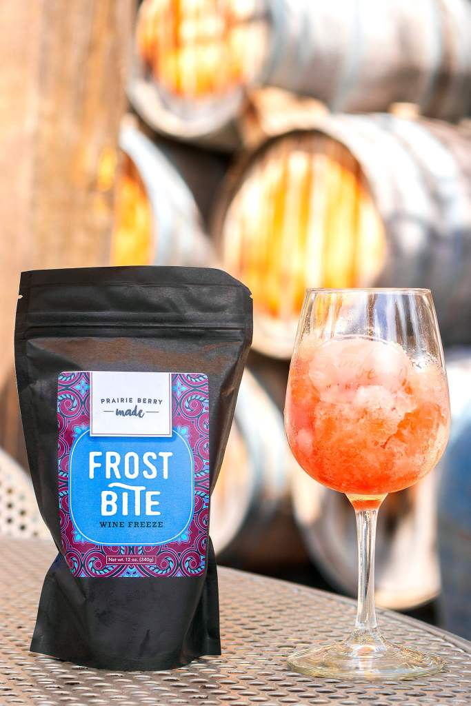 A pouch of Frost Bite Wine Freeze turns your favorite Prairie Berry Winery wine into a grown-up snow cone-like treat