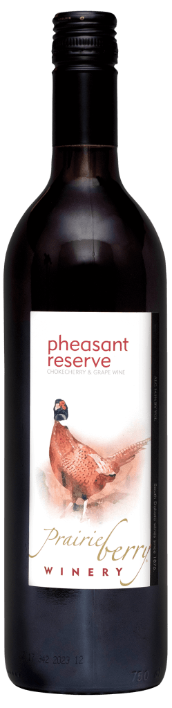 A bottle of Prairie Berry Winery's Pheasant Reserve dry red wine