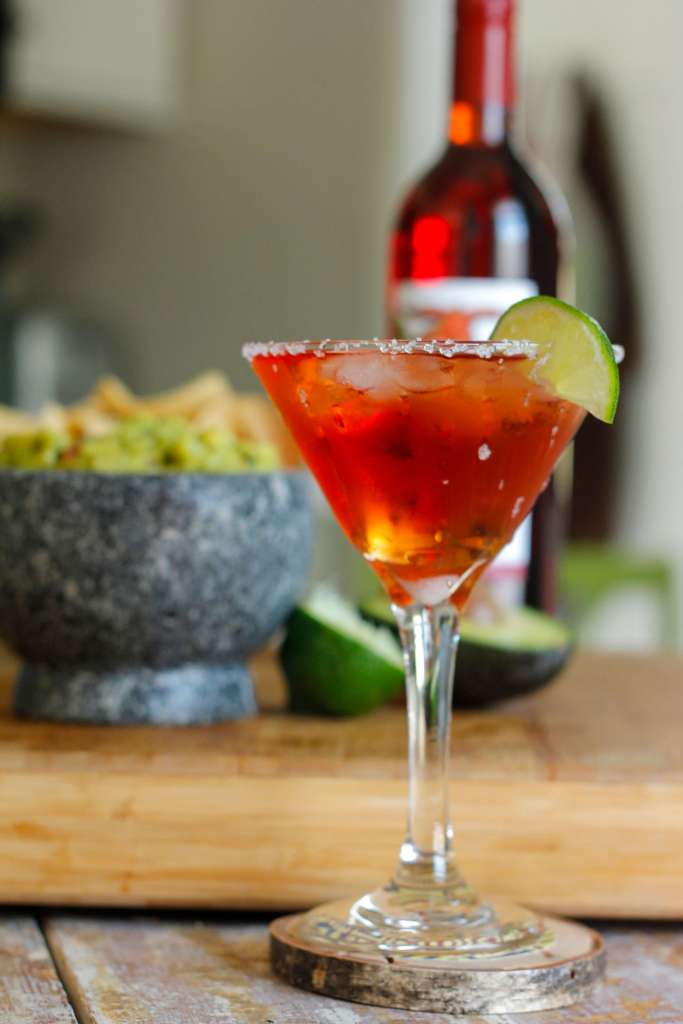 Red Assaritas are a wine cocktail made with Prairie Berry Winery's Red Ass Rhubarb wine.