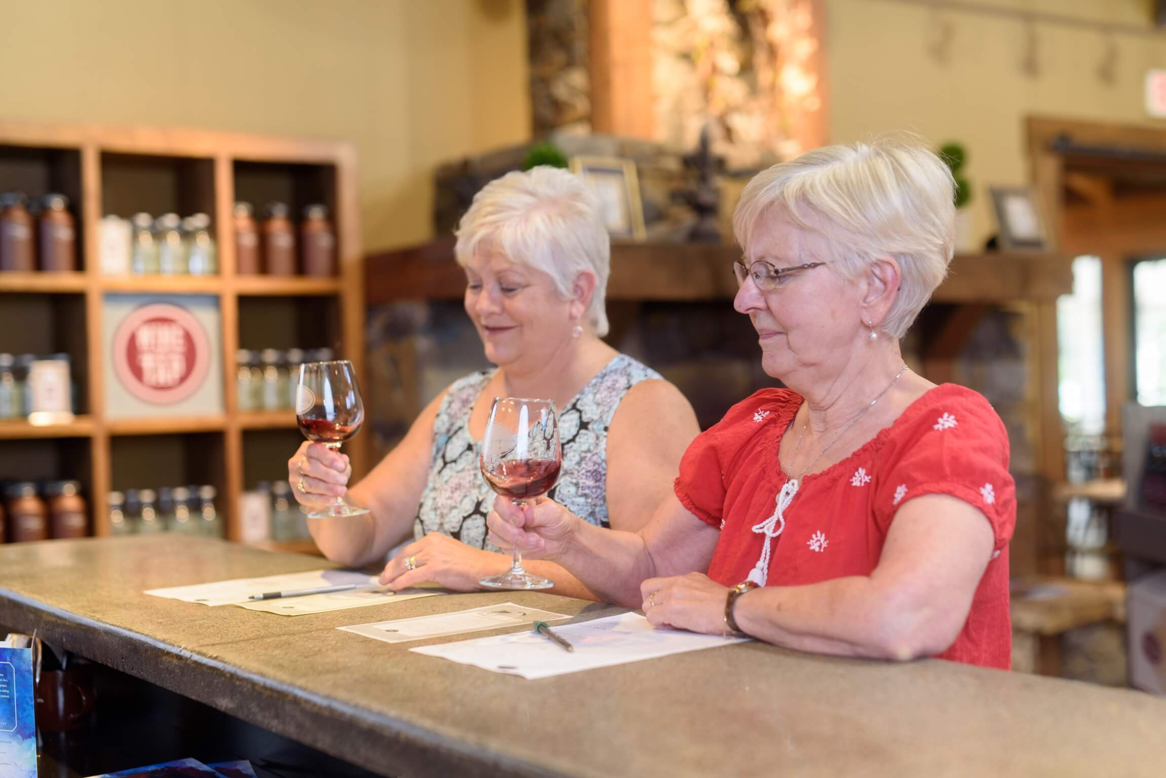 A group of friends enjoys a wine tasting at Prairie Berry Winery.