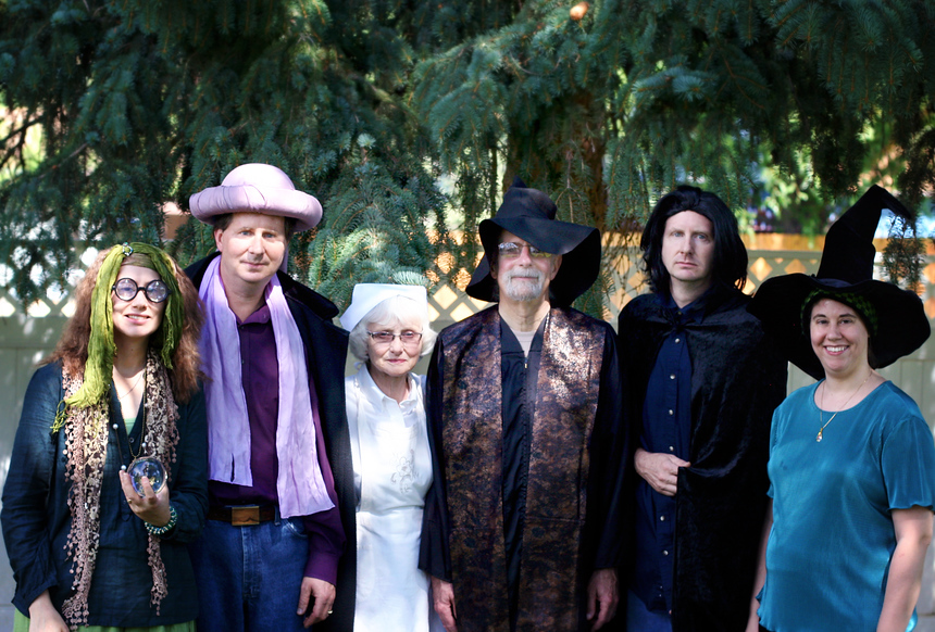 Left to right: Sybil Trelawney (me), Quirinus Quirrel (Ken), The nurse, Madam Poppy Pomfrey (my mother-in- law, Grandma K), Professor Albus Dumbledore (my father-in-law, Grandpa S), Professor Severus Snape (my brother-in-law, Jim), Minerva McGonagall (my sister, Lorelle)