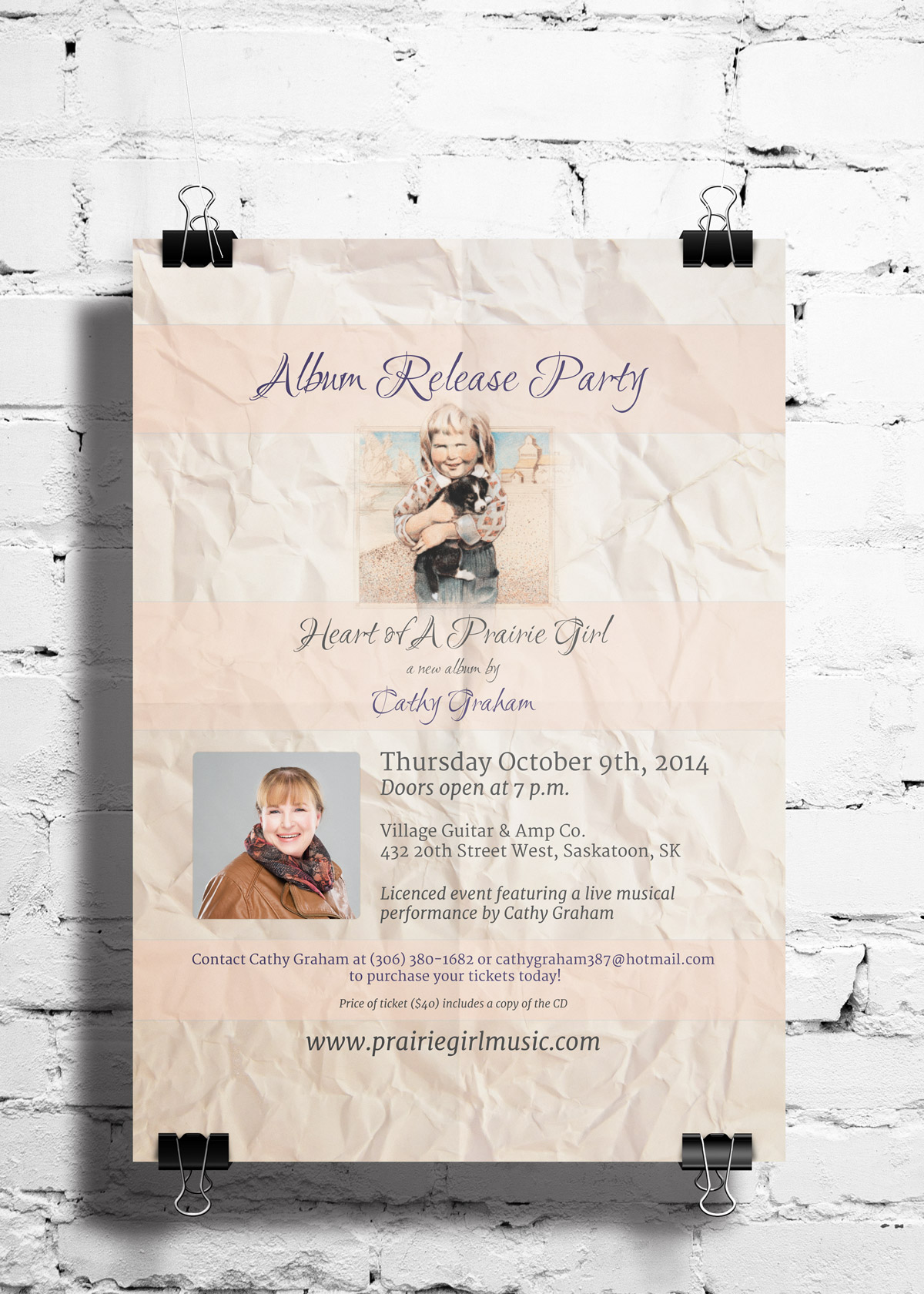 Heart of a Prairie Girl - Album Launch Poster 2014