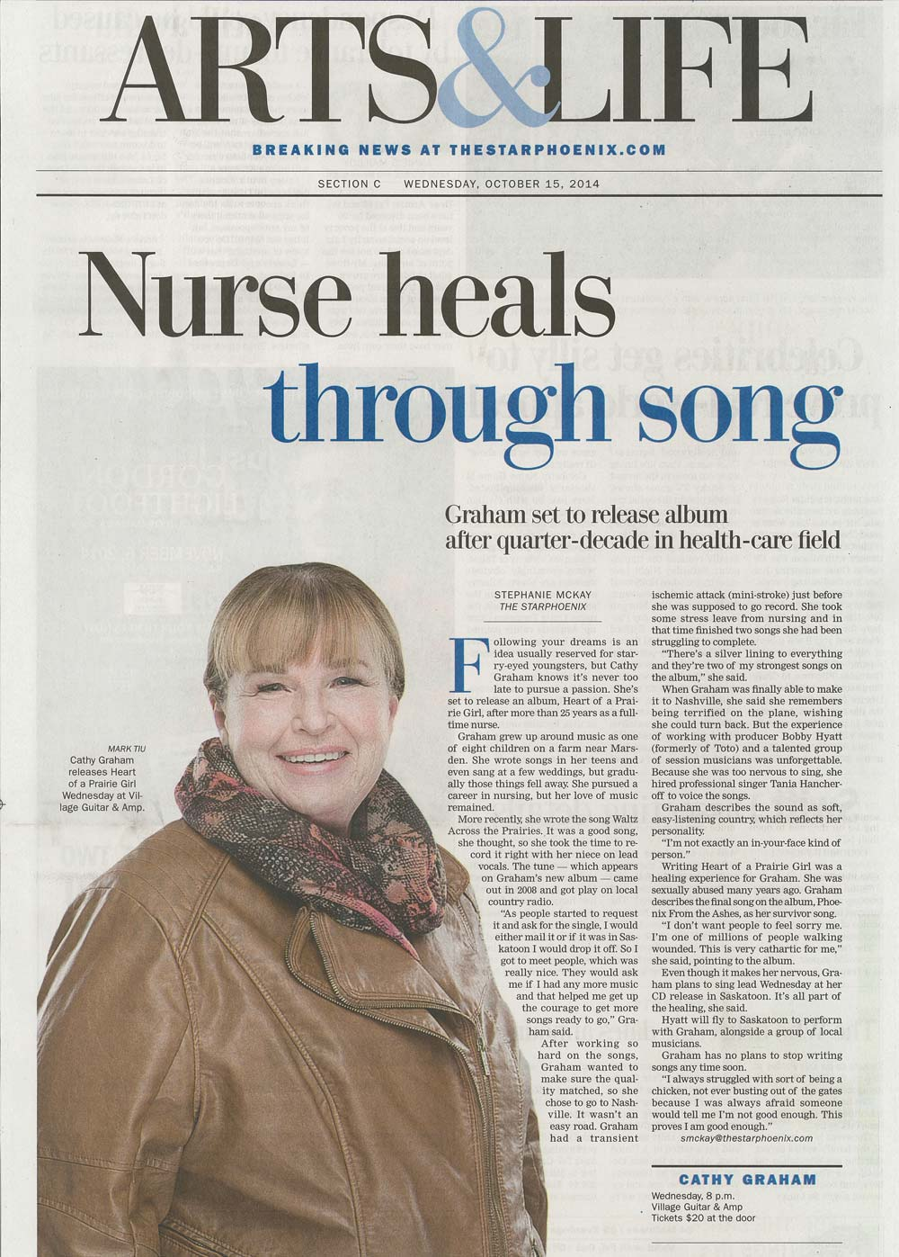 """Nurse Heals Through Song"" Star Phoenix Article with Cathy Graham"