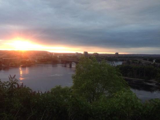 sun rise over the Ottawa River