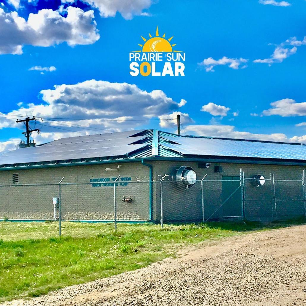 solar panels on the water treatment plant in Kawacatoose First Nation